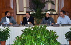 Delegates at the meeting between Afghan MPs and representatives linked to the Taliban