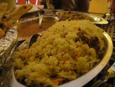 Biriyani, dhal and naan at Poppadums