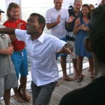 President awards Mark 'Occy' Occhilupo Four Seasons Maldives Surfing Champions Trophy