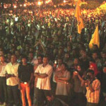 """Thuggery will not push us back"", Nasheed tells thousands of supporters in ruins of Usfasgandu"