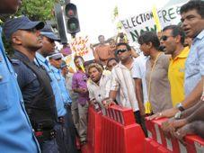 Nasheed at MDP protest