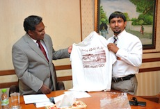 Waheed with anti-GMR t-shirt