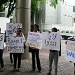 Women's rights group protest against impunity of Civil Service Commission President following sexual harassment allegations