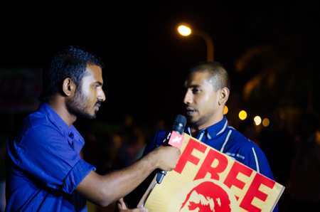 Raajje TV journalist Wisam interviewing MP Mahloof